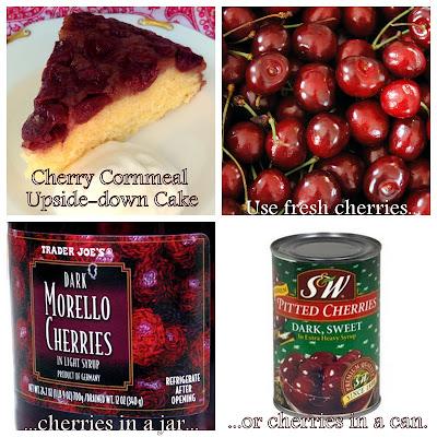 ... whimsies for spreading joy*: Skillet Cherry Cornmeal Upside-down Cake