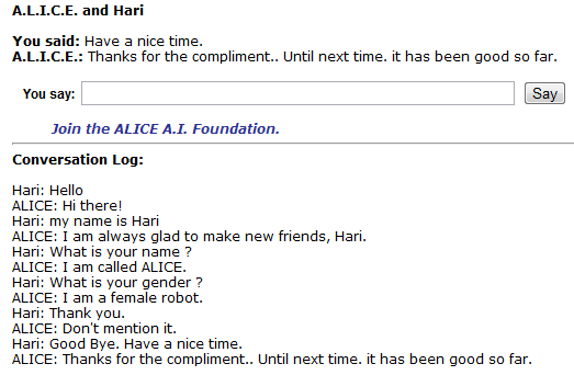 Chatting with Alice