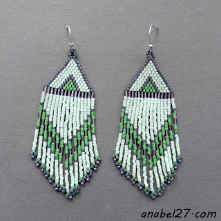 Seed bead earrings - mint - delica - beaded jewelry- handmade