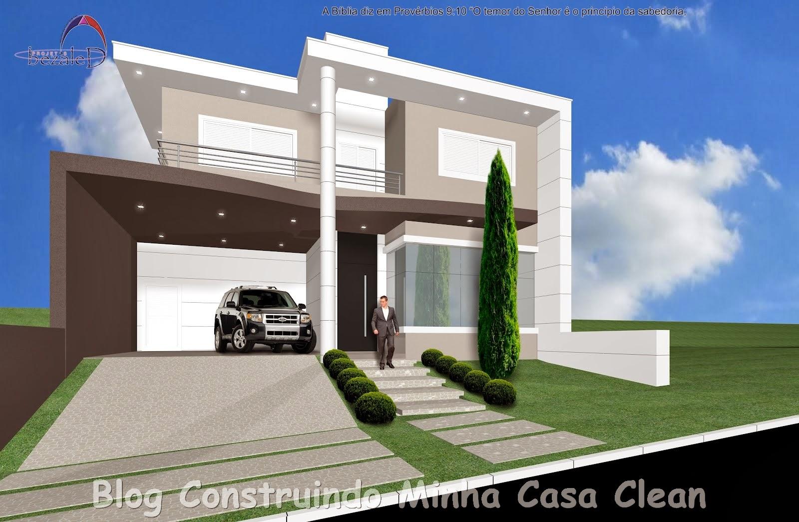 Construindo minha casa clean fachadas de casas com paisagismo moderno - Fachada de casas ...
