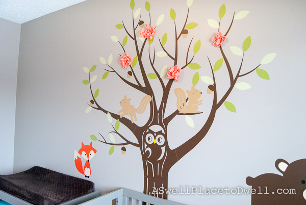 Fabric flowers on tree sticker