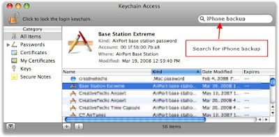 recover iphone backup password from keychain
