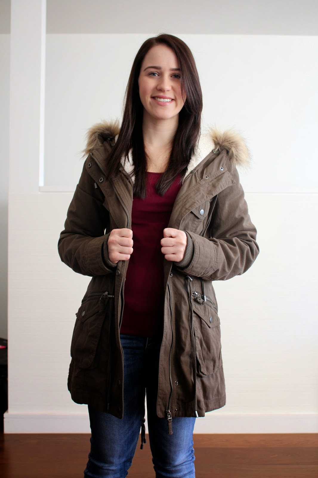 Light wash denim jeans, wine coloured long sleeved top, khaki wool lined jacket, brown combat boots, winter outfit, casual winter outfit, everyday outfit, petite girl outfit, combat boots and jeans, keeping warm in winter