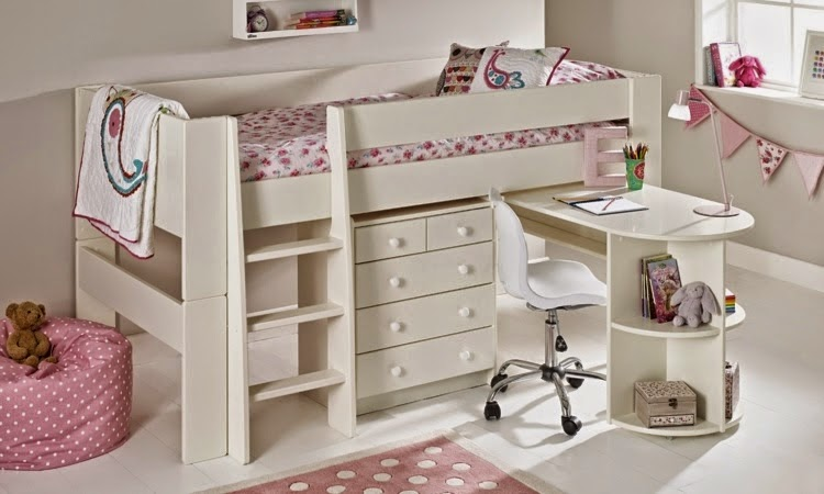 Baby Girl Nursery Decorating Ideas: Functional Loft Bed With Simple Look Is  Spiced Up With Colorful Bedding