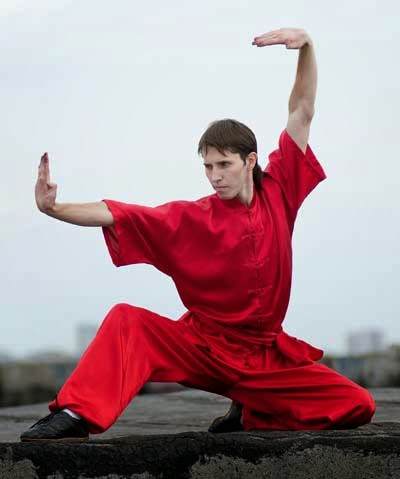 Man practicing the Wushu Chinese internal style of Martial Arts.