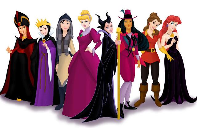Princesas Disney vestidas de vilãs desenho colorido