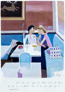 illustration by Edmond Kiraz of two women in a paris cafe