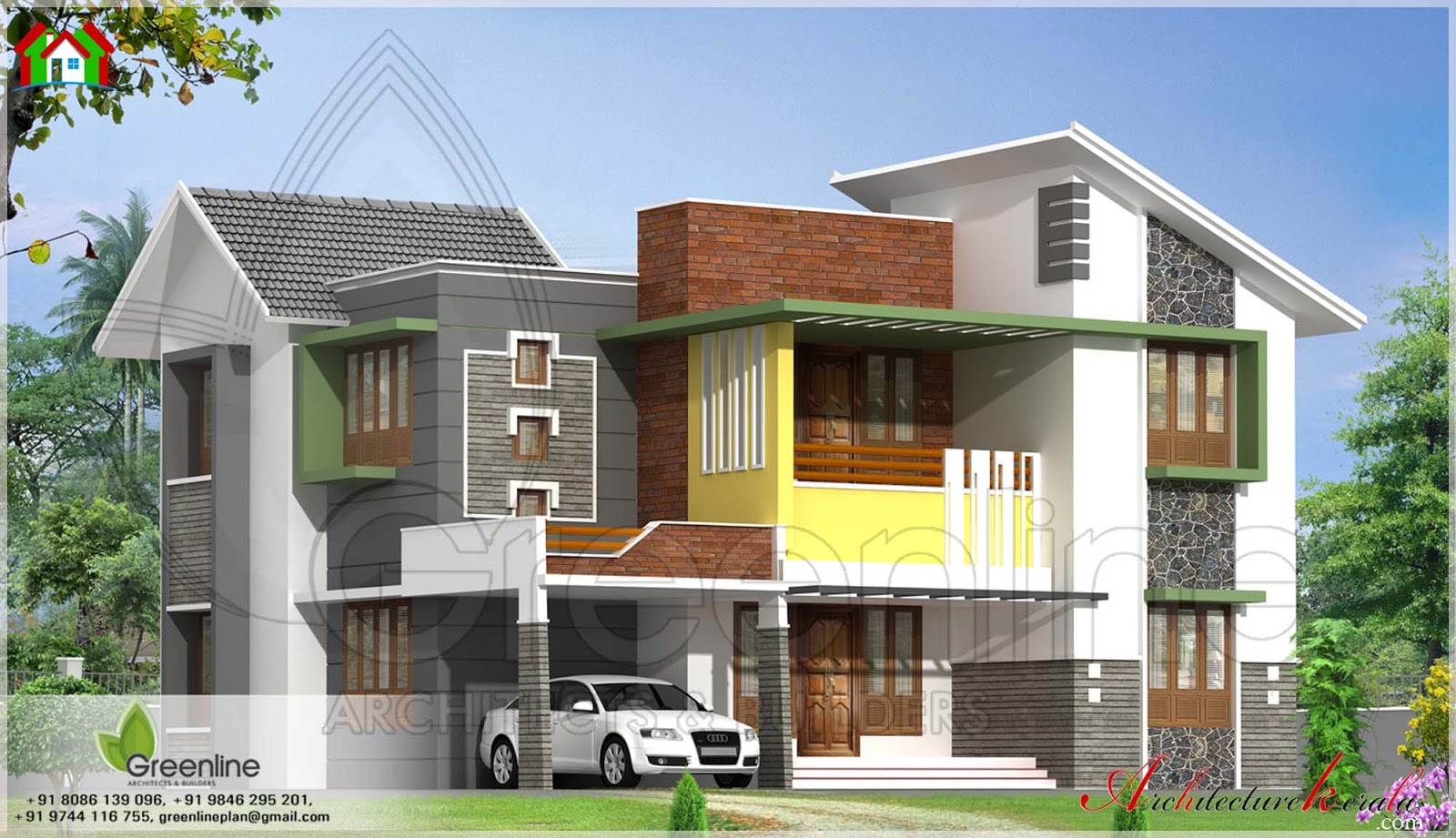 Modern style house elevation architecture kerala for Contemporary home elevations