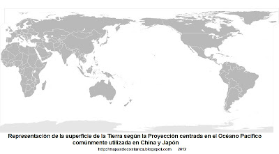  5. Representacion de la superficie de la Tierra segun la Proyeccin centrada en el Ocano Pacfico, comnmente utilizada en China y Japn, 800 x 406 px
