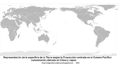 5. Representacion de la superficie de la Tierra segun la Proyección centrada en el Océano Pacífico, comúnmente utilizada en China y Japón, 800 x 406 px