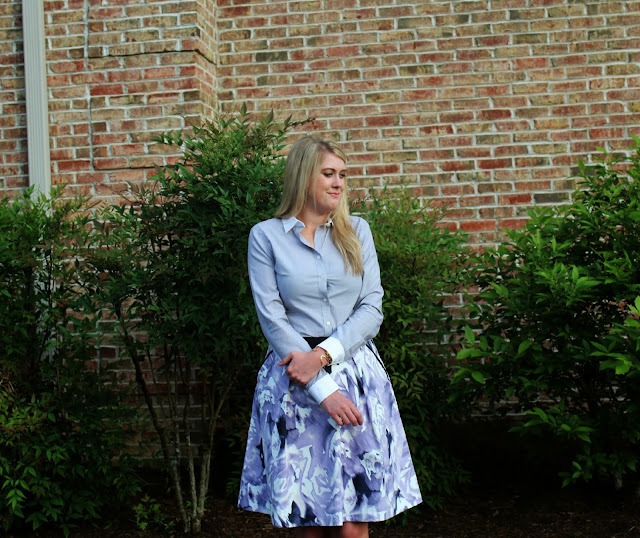 floral skirt for work outfit