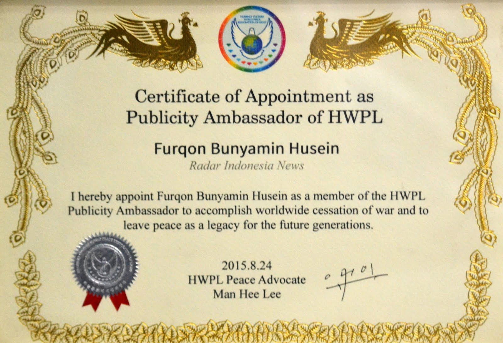 Sertifikat Publicity Ambassador