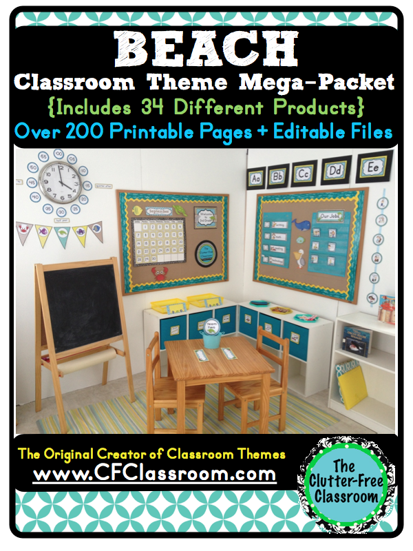 Classroom Beach Decor ~ Clutter free classroom beach ocean themed