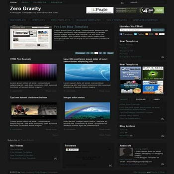 Zero Gravity blogger template. magazine style blogger template. featured content blogger template 3 column footer blogger template