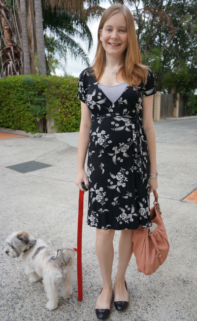 printed jersey wrap dress for office wear in second trimester