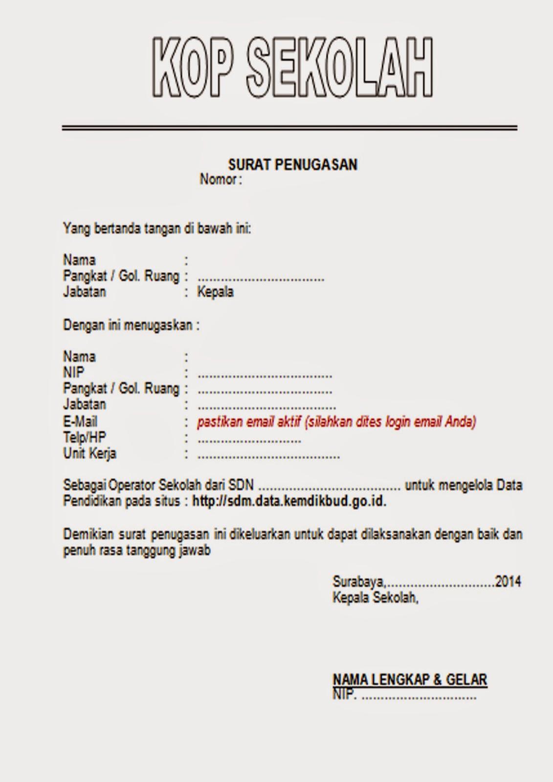 Contoh Sk Penugasan Operator Newhairstylesformen2014 Com
