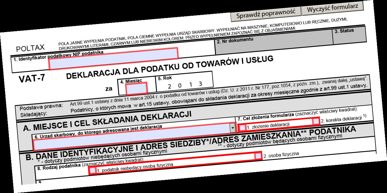 VAT-7, Formularz VAT-7