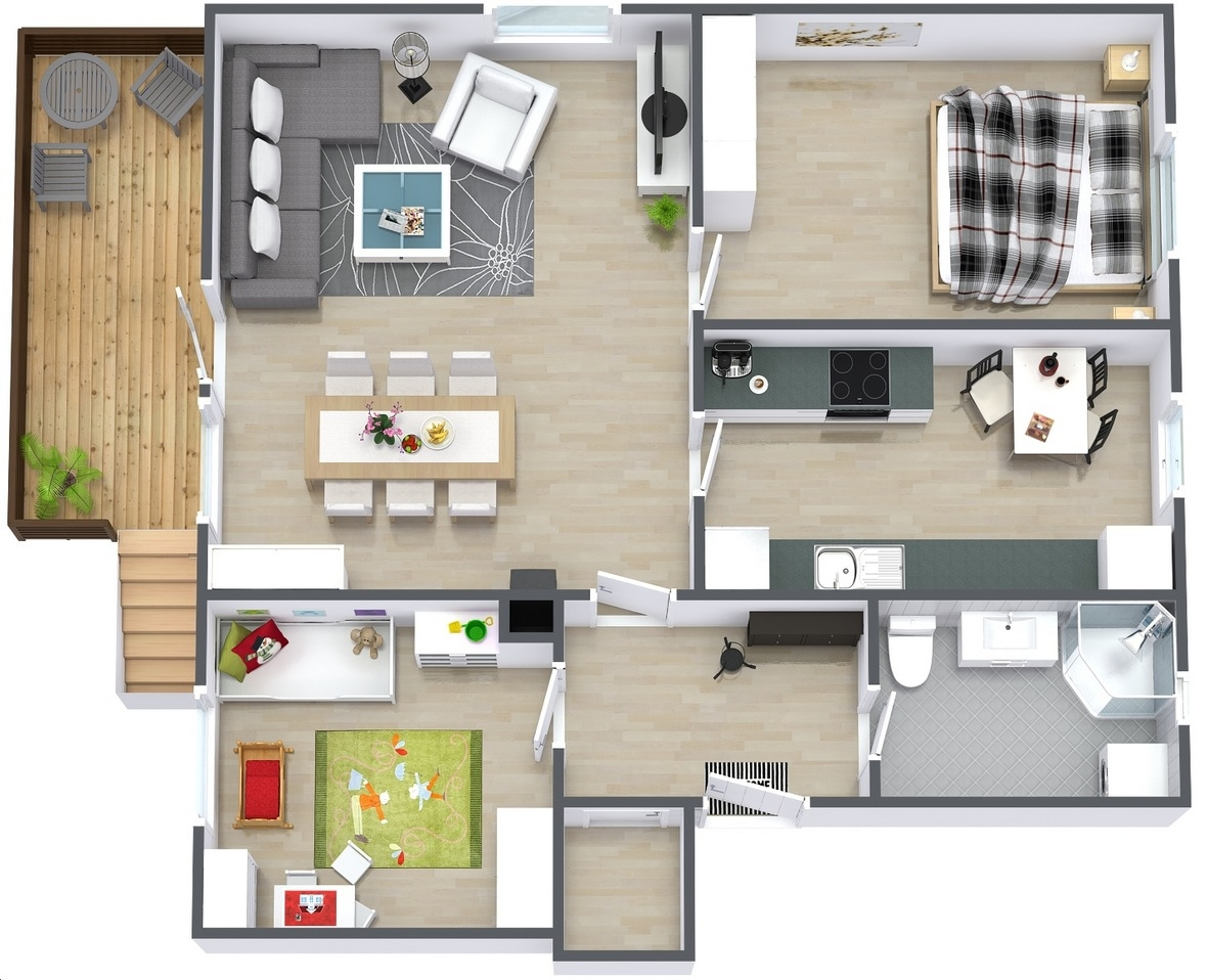 50 3d floor plans lay out designs for 2 bedroom house or apartment - Bedroom home plan ...