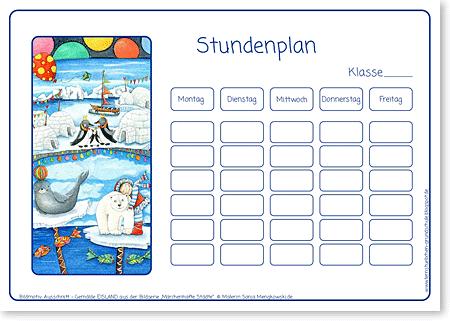 Stundenplan - Eisland - Format DIN A4 - Grundschule