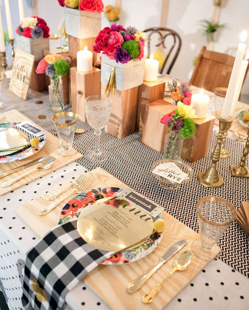 eclectic vintage tablescape