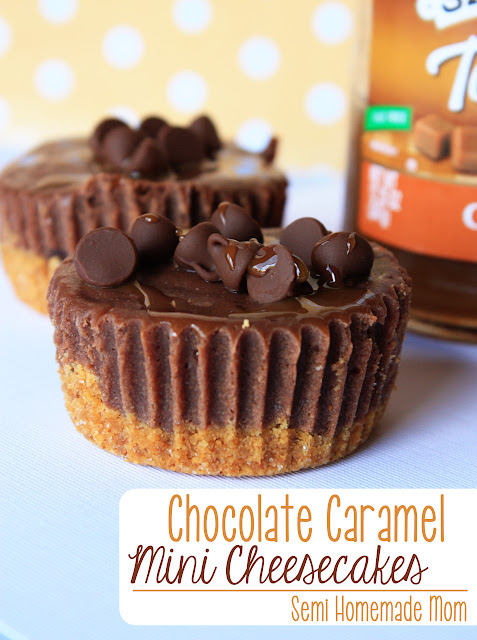 Chocolate Caramel Mini Cheesecakes