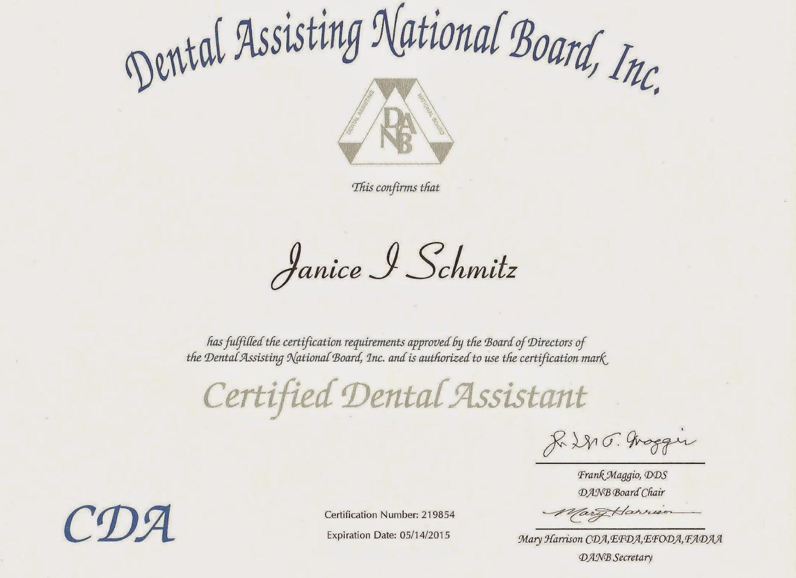 Janice schmitz rdh bs msdh professional portfolio licenses cda certificate 2015 1betcityfo Choice Image