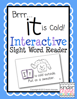 """Brrr... it is Cold!"" interactive Sight Word Reader. Only $1"