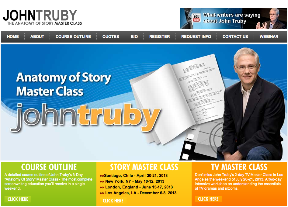 WSU Media Arts: John Truby\'s The Anatomy of Story Master Class