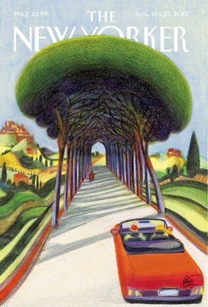 driving trough a Tuscany landscape in the summer illustration by Lorenzo Mattotti