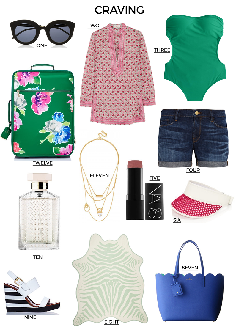 Style Fragment Vacation Gear, Nars, Kate Spade, simwsuit, j.crew, luggage, layered necklace, baublebar, cover ups, beach, vacation, vacay, Piperlime, tote, visor, shades, tunic, shorts, Sale, Net-A-Porter,