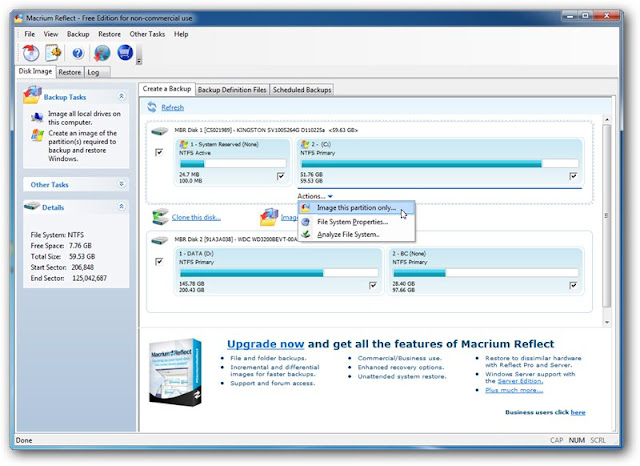 Macrium Reflect 5.1 Free Edition – Interface