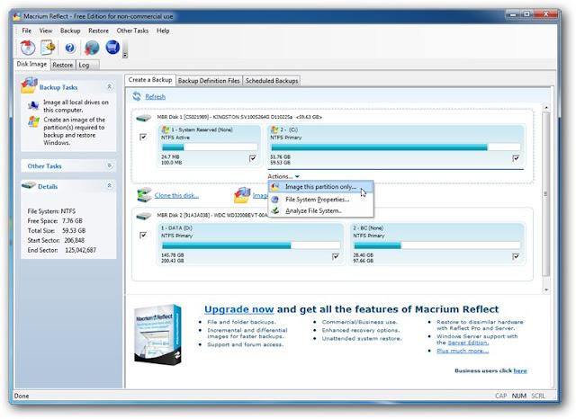 Macrium Reflect 5.1 Free Edition – Interface