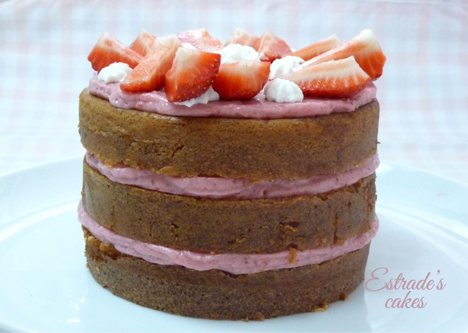 tarta con mousse de fresa - 1
