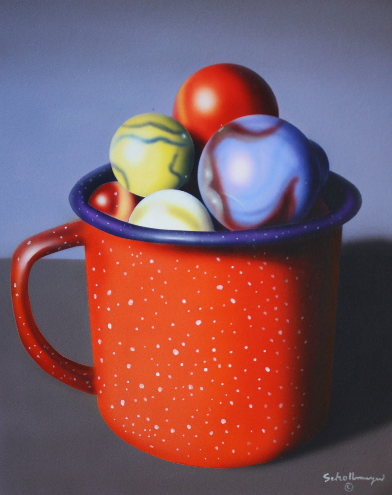 A Marble In A Cup Of Honey : Fred schollmeyer granite cup and marbles