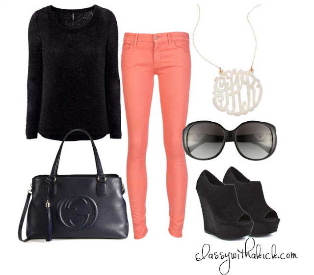 Black & Coral Outfit featuring Gap Jeans