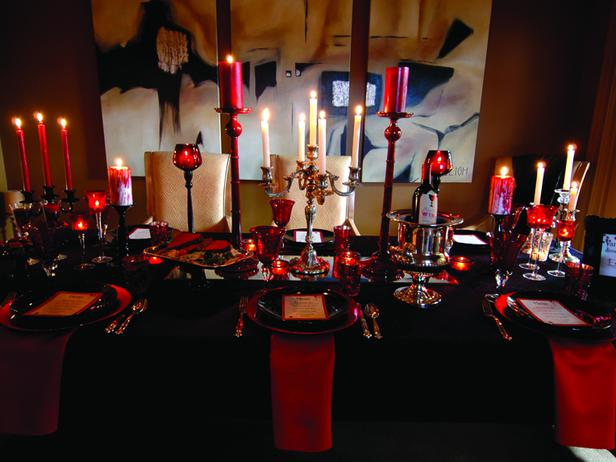 Red and Black Table Decorations