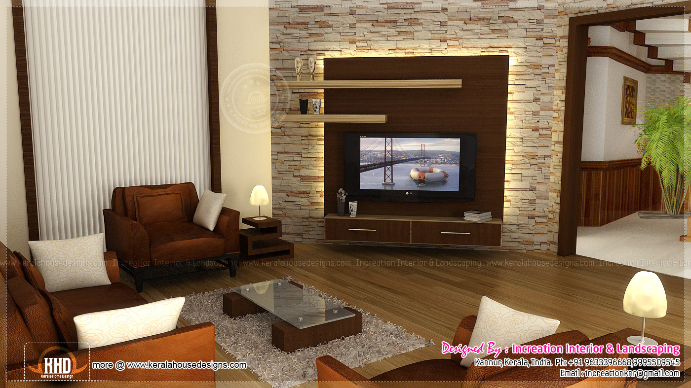 Interior design ideas for homes kerala home design and for Interior design ideas living room with tv
