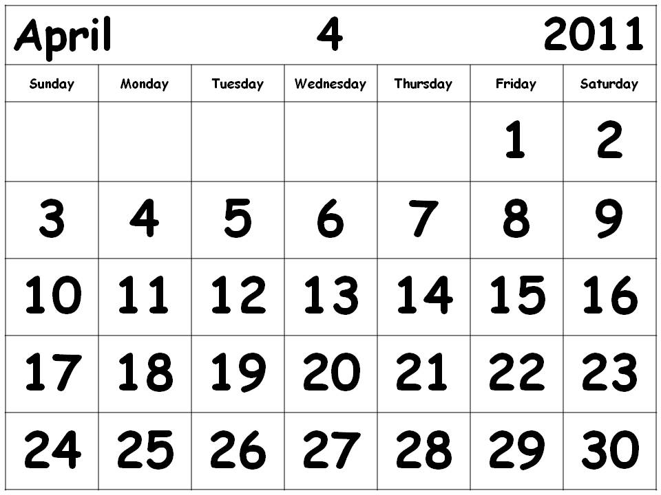 calendar april 2011 with holidays. calendar april using source
