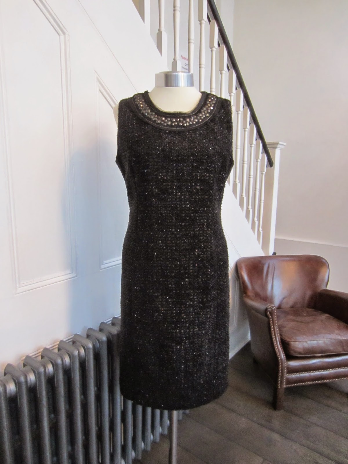 Armani Collezioni Black/Metallic Wool Dress