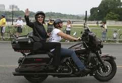 Palin on motorcycle