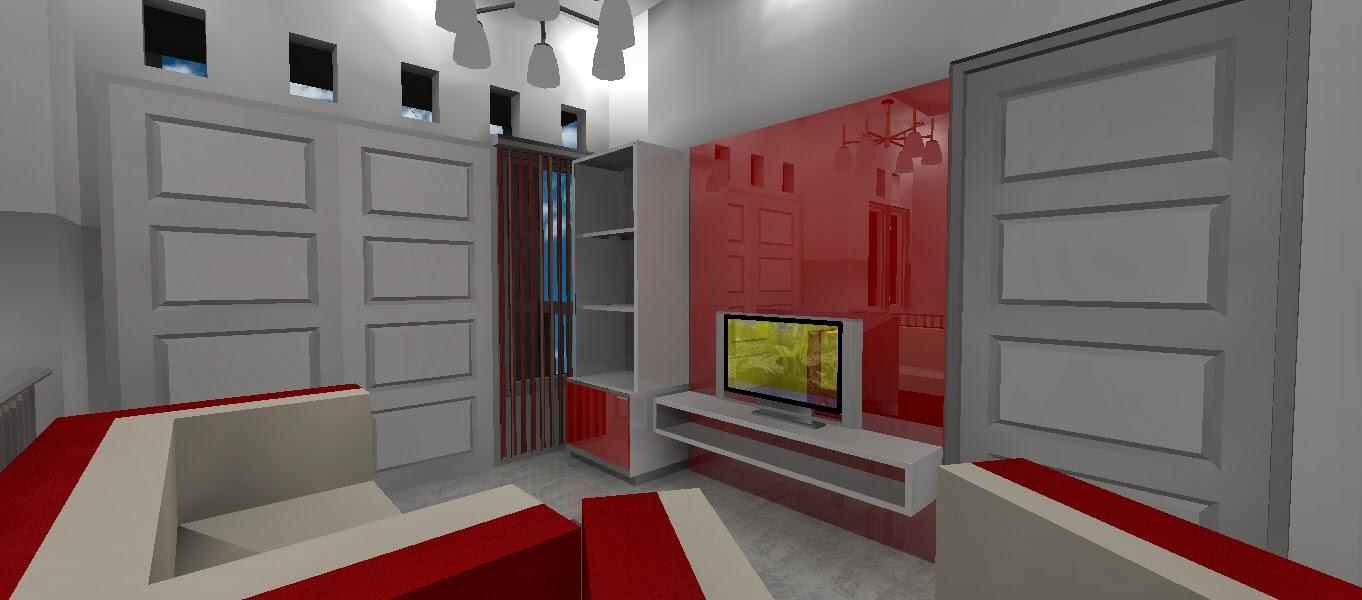 Rak TV simpel dengan panel merah glossy