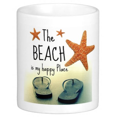 Beach Happy Quote Flip Flops Mug