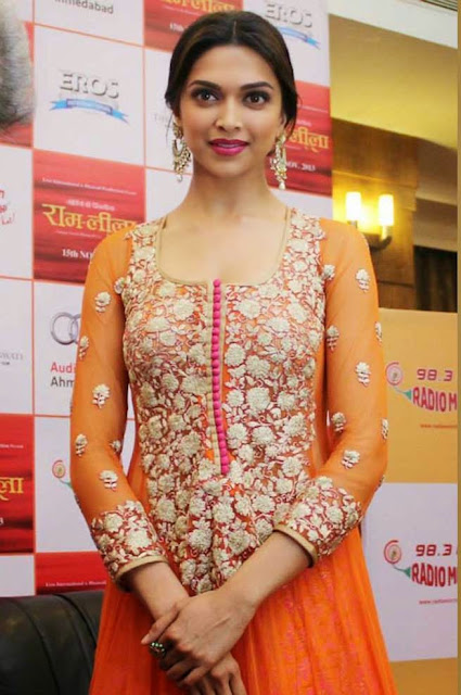 1823 - Deepika Padukone in Orange Anarkali Dress during Promotion of RAM LEELA Movie at Ahmedabad