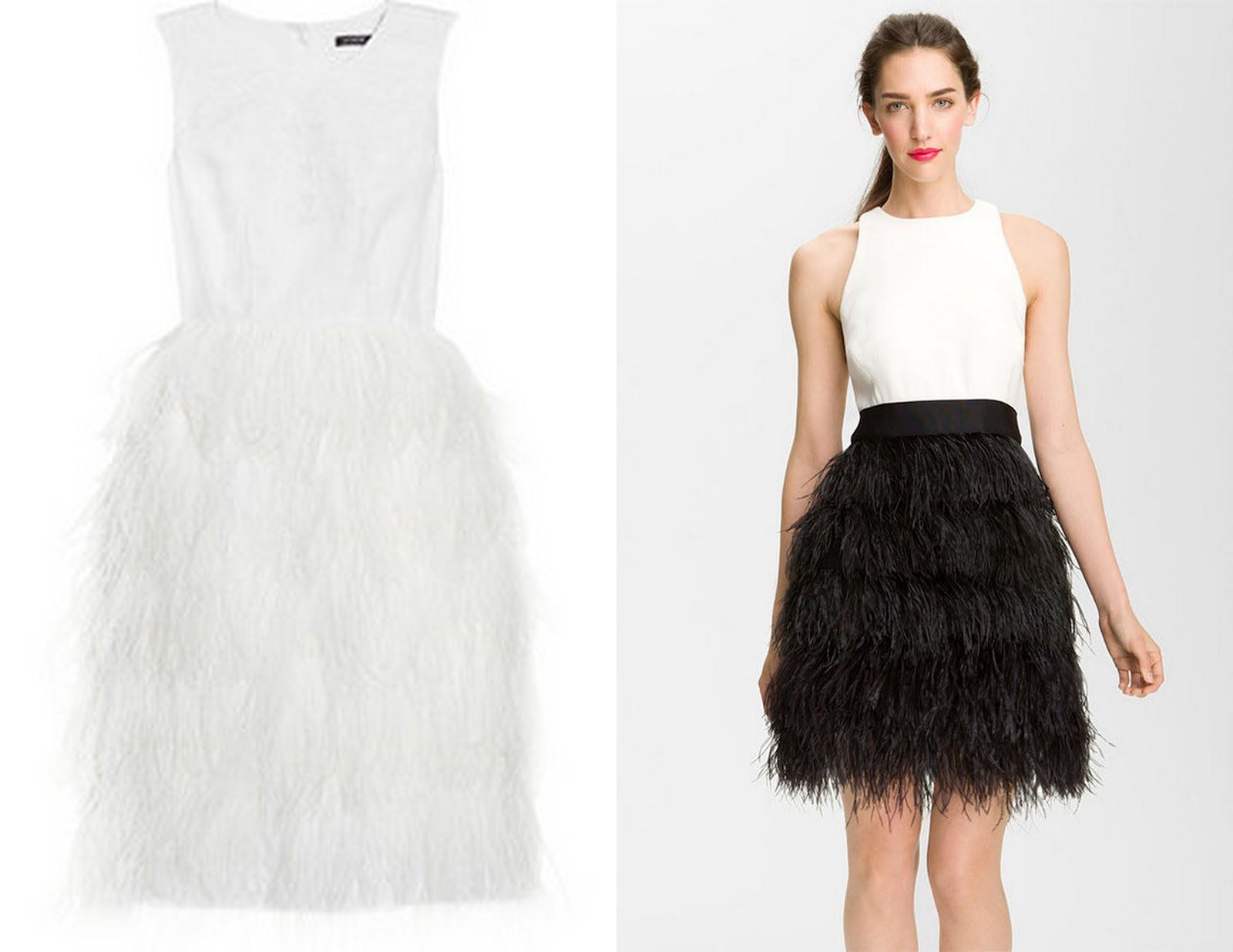 White Ostrich Feather Dress