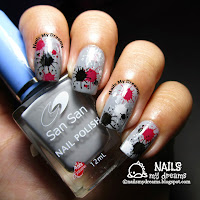 splatter nail art via stamping