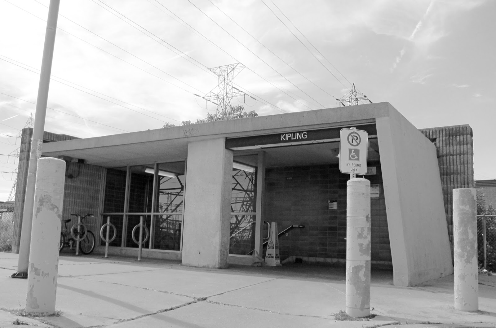 Photo: Kipling station south commuter lot entrance: a concrete bunker