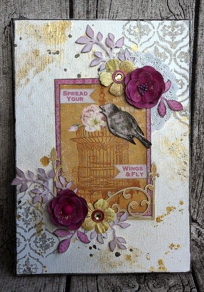 Spread Your Wings And Fly Away Canvas by Ulrika Wandler using BoBunny Madeleine Collection