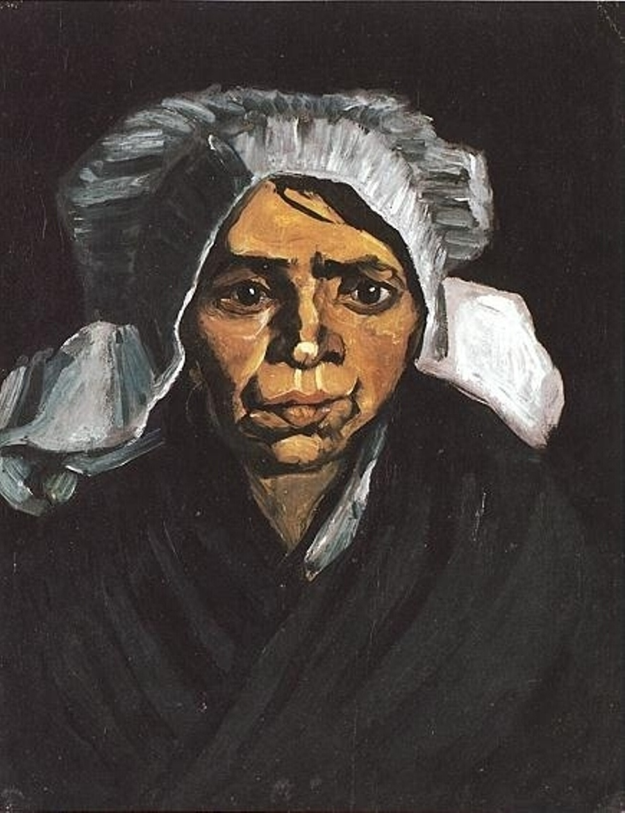 Head of a Peasant Woman with White Cap (F 146a, JH 565) by Vincent van Gogh