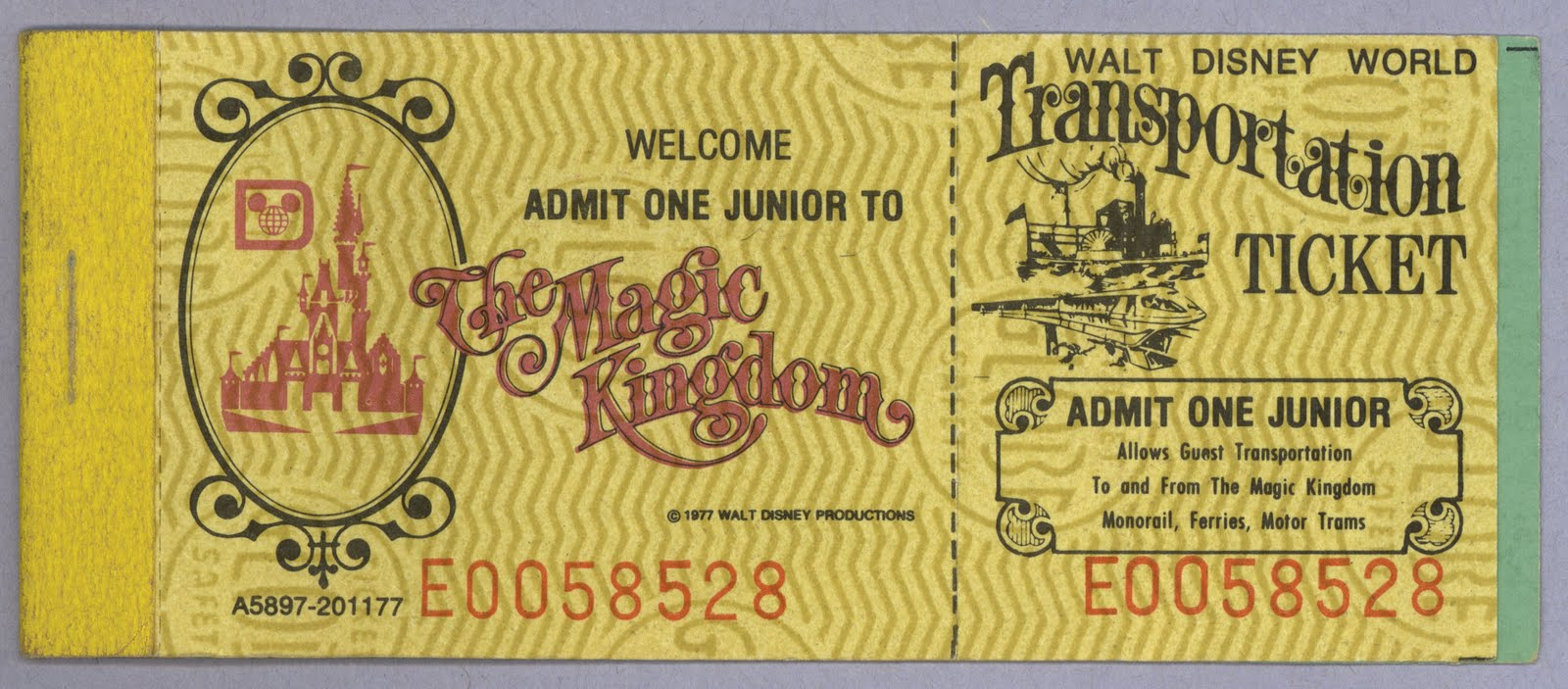 Vintage Disneyland Tickets Walt Disney World Transportation