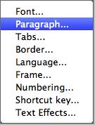 Format submenu: paragraph